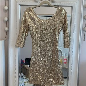 Dresses & Skirts - 3/4 Sleeve Gold Sequins Dress - Size Small